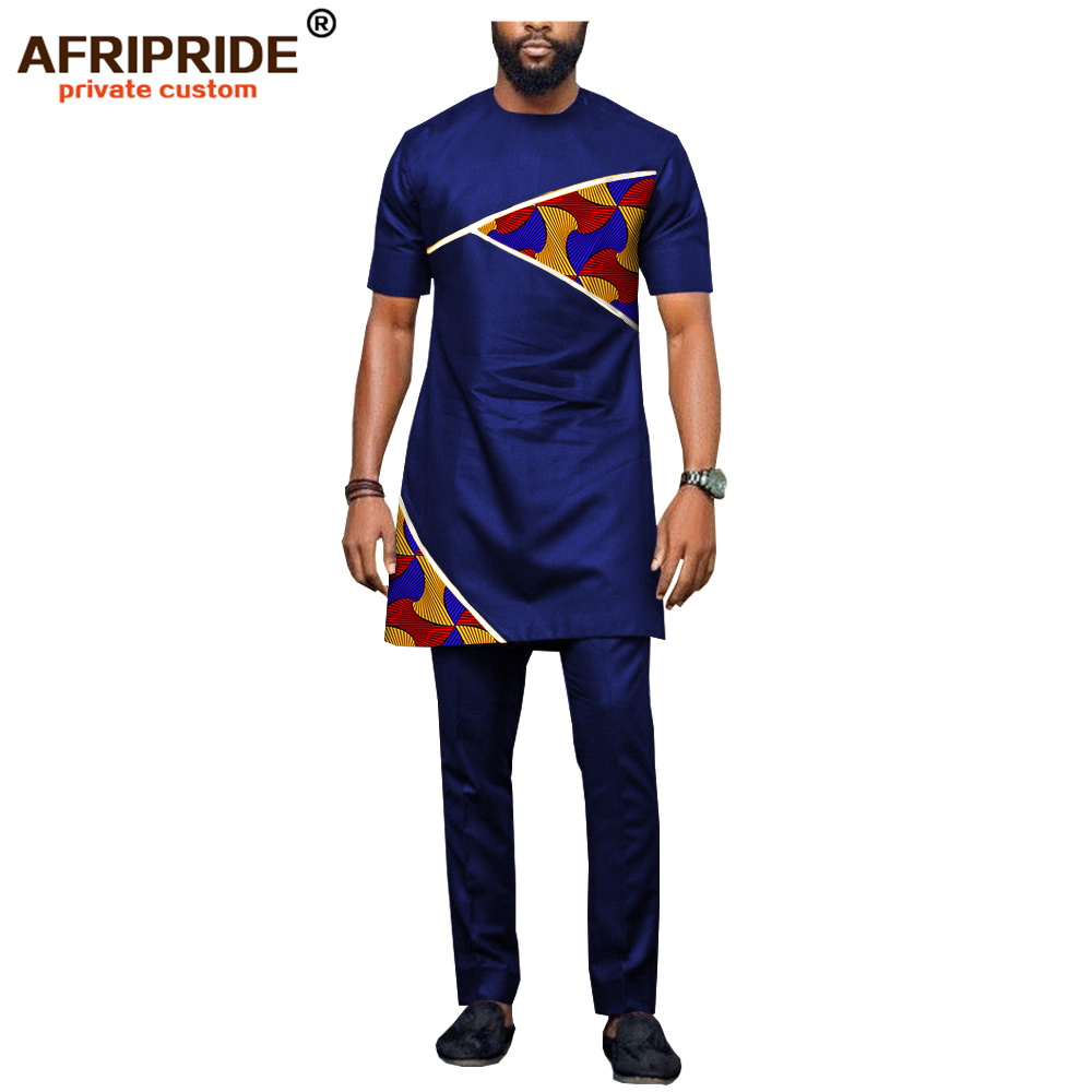 African Men Clothing Dashiki Tops And Ankara Pants 2 Piece Suits Print Outfits Casual Blouse Shirts AFRIPRIDE A1816002