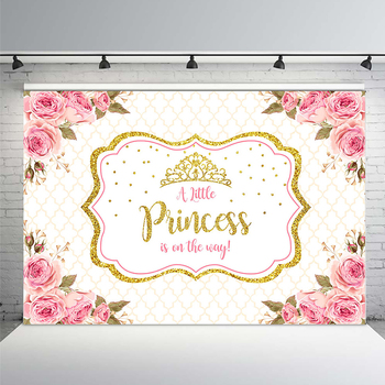 Baby Shower Photo Backdrop for Photography Little Princess Newborn Flower Background Gold Crown Birthday Party Booth mehofoto baby shower photo backdrop for photography little princess newborn flower background gold crown birthday party booth