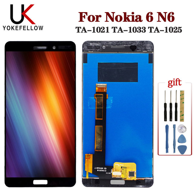 LCD Display For Nokia 6 N6 TA 1021 TA 1033 TA 1025 LCD Display Digitizer Screen With Touch Complete Assembly for Nokia 6 Display