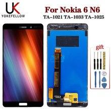 LCD ekran Nokia 6 için N6 TA 1021 TA 1033 TA 1025 LCD ekran sayısallaştırıcı ekran dokunmatik komple meclisi Nokia 6 ekran