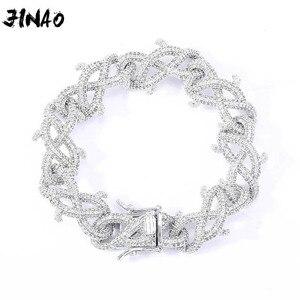 JINAO Новая мода 15 мм в стиле хип-хоп ювелирные изделия кубинская цепь льдом цепи Bling кубический циркон ежевика ожерелье для мужчин и женщин, по...