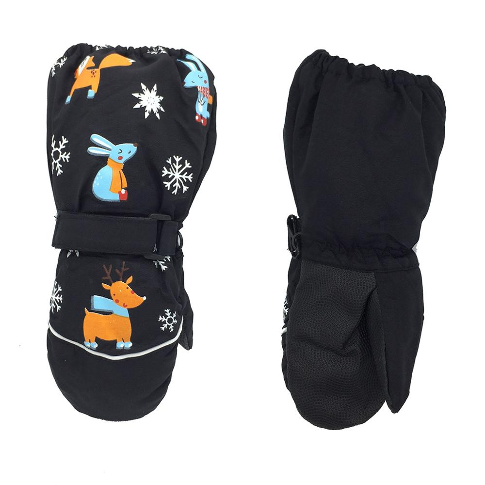 1Pair Winter New Children Print Cartoon Deer Rabbit Thickening Ski Gloves Kids Windproof Waterproof Non-slip Long-sleeved Mitten