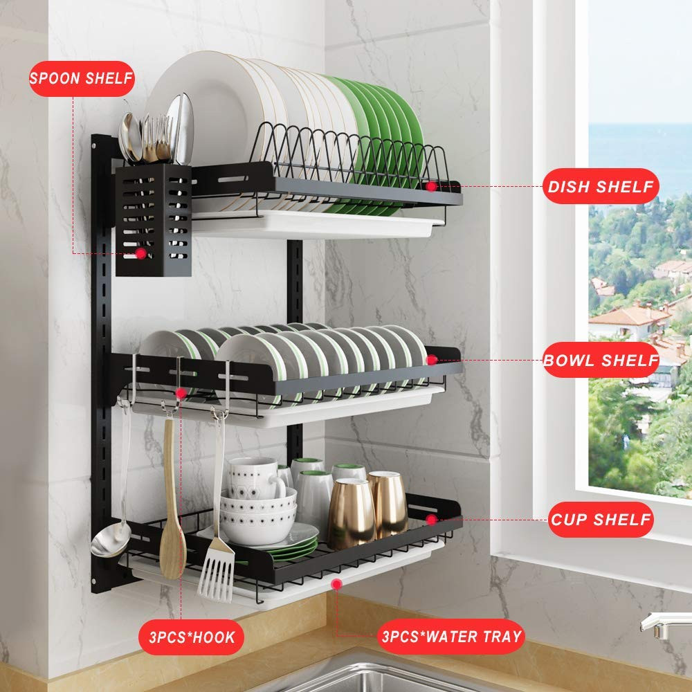 Hanging Dish Drying Rack Wall Mount Dish Drainer 2-3 Tier Kitchen Plate Bowl Spice Organizer Storage Shelf Holder