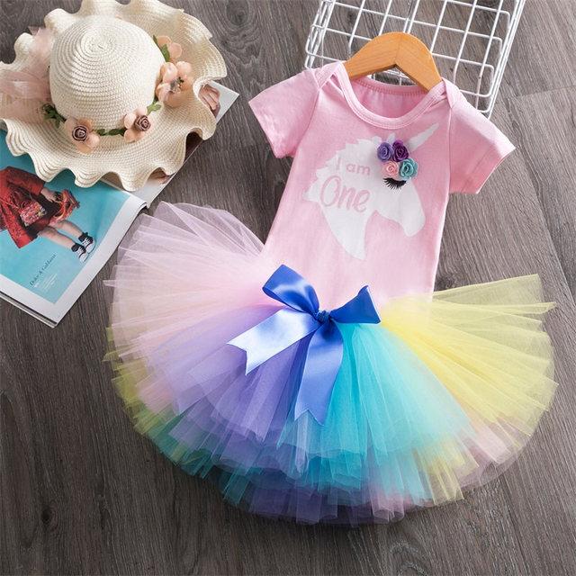 1 año niña bebé cumpleaños unicornio vestido flor recién nacido princesa traje 12 meses bautizo vestido pastel de bebés trajes