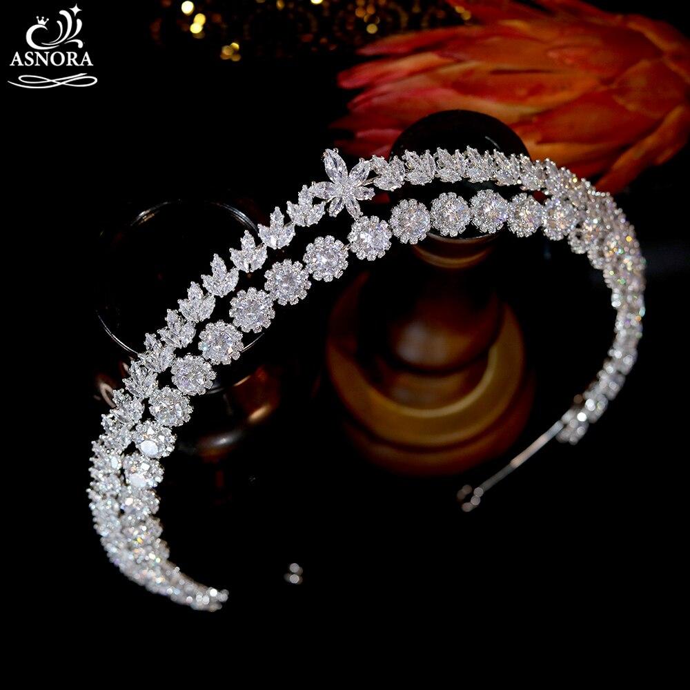 Asnora luxo cúbico zircônia nupcial casamento coroa longo tiaras marquise corte de zircão cz baile coronet cristal cabelo jóias