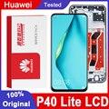 Оригинальный протестированный сменный дисплей 6,4 дюйма с рамкой для Huawei P40 Lite, ЖК-дисплей с сенсорным экраном и дигитайзером в сборе для Nova 6 ...