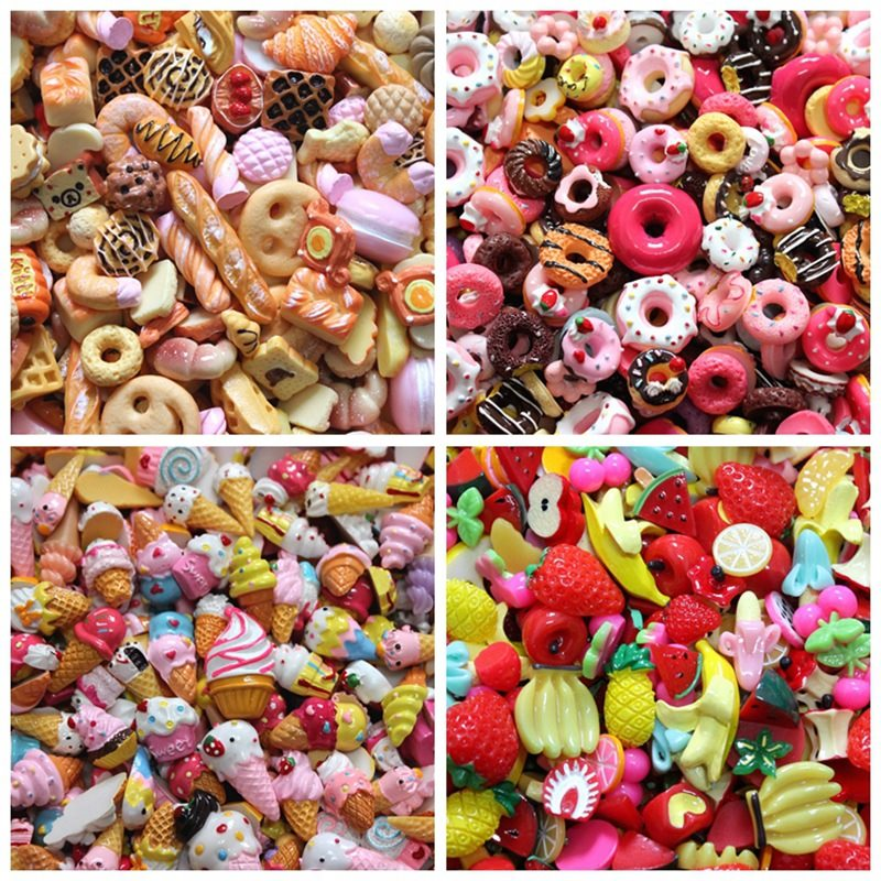 5/10Pcs Candy Slime Supplies Accessories Phone Case Decoration For Slime Diy Filler Miniature Resin Cake Fruits Candy Chocolate