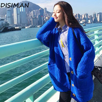 winter autumn casual harajuku mohair sweater oversized blue cardigan korean style loose chunky sweater womens knitted jacket