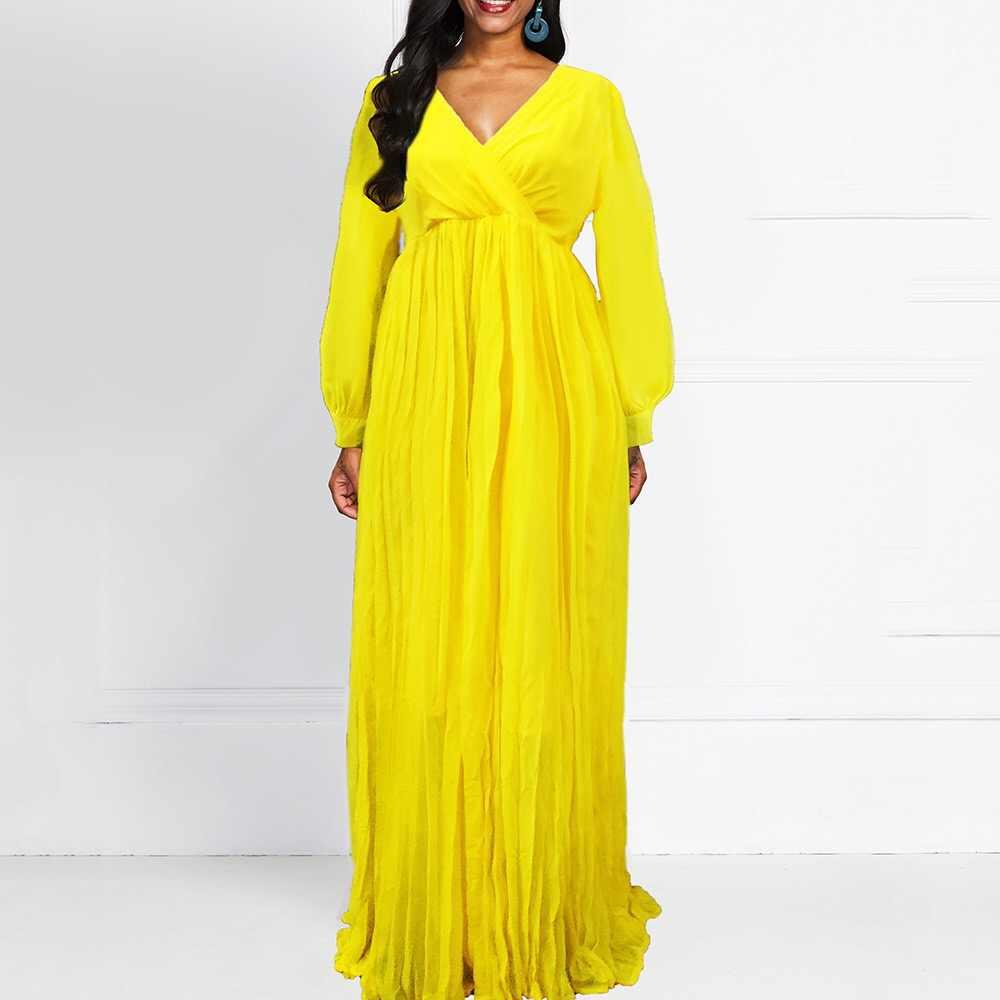 플러스 사이즈 드레스 옐로우 드레스 긴 소매 우아한 바닥 길이 느슨한 V 넥 가을 가을 큰 사이즈 드레스 저녁 파티 착용 새로운