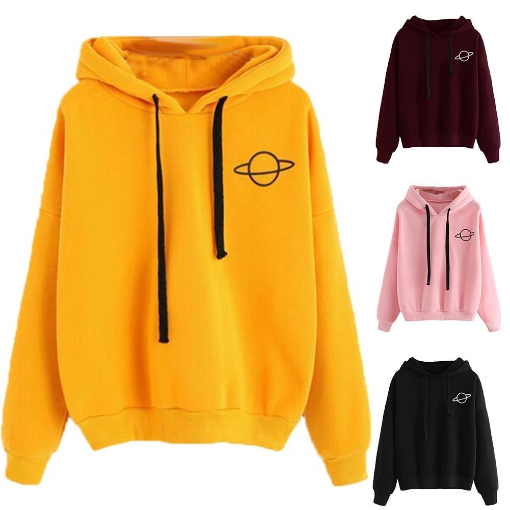 Casual Women Autumn Winter Print Long Sleeve Hooded Drawstring Loose Sweatshirt  Ladies Hooded Sweatshirt Hooded Pullover