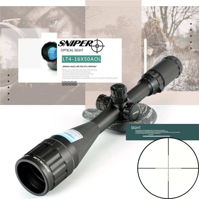 SNIPER LT 4-16X50 Riflescope Tactical Optical Sight Full Size Mil-Dot RGB Wire Reticle Hunting Optics Rifle Scope Red Dot Sight