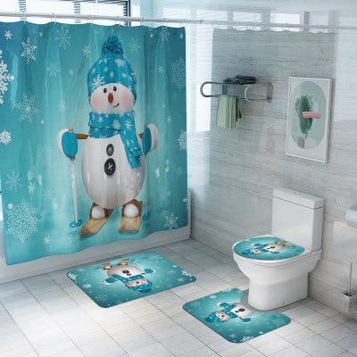 Christmas Shower Curtain Carpet Combination Bathroom Set Santa Snowman Elk Balloon Print Pattern New Year Atmosphere Decoration
