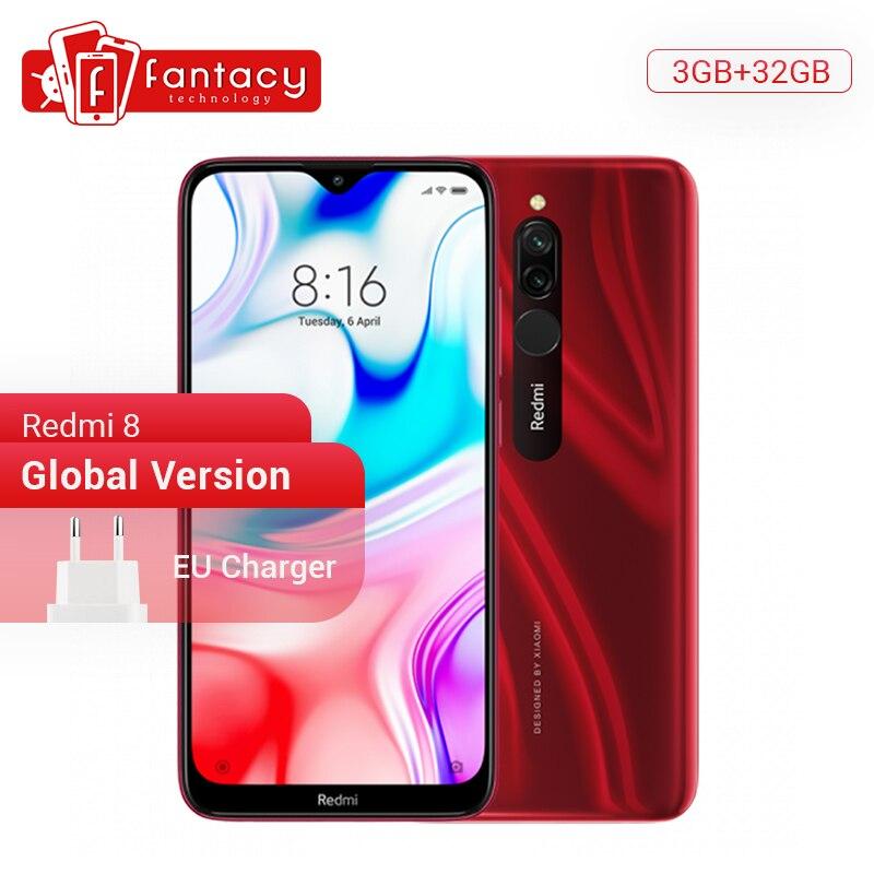 Versão global xiaomi redmi 8 3 gb 32 gb snapdragon 439 octa núcleo celular 12mp câmera dupla 5000 mah grande bateria telefone móvel