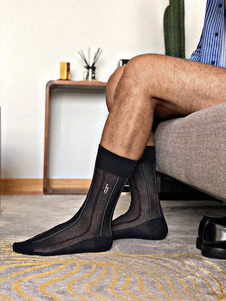 Tube Socks Business Gentleman Dress Men's Cotton Socks Comfortable Ultra-thin Mesh Breathable Cotton Yarn Tube Men's Socks