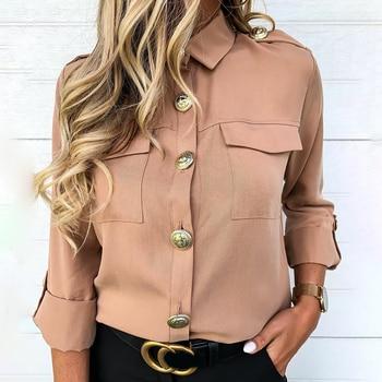 Vintage Long Sleeve Pocket Shirt For Women Autumn Tops Blouse Turn Down Collar Khaki White Black Shirt Fashion Female Blusas D25 2