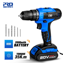 PROSTORMER 20V Electric Screwdriver Cordless Drill 30Pcs With Box Flexible Shaft Power Tool Lithium Battery LED Light Mini Drill