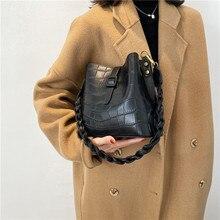 Sac à main carré en cuir PU croco pour femmes, sacoche à bandoulière, grande capacité, serrure tissée, nouvelle collection 2020