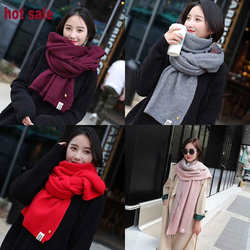 Winter Women's Scarves Solid Color Cashmere Scarf Knitted Female Winter Wool Long Warm Lady Knitted Wool Long Scarf Dropshipping