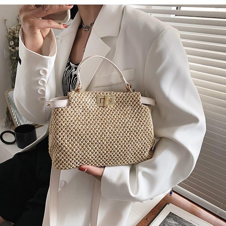 Designer Straw Crossbody Bag
