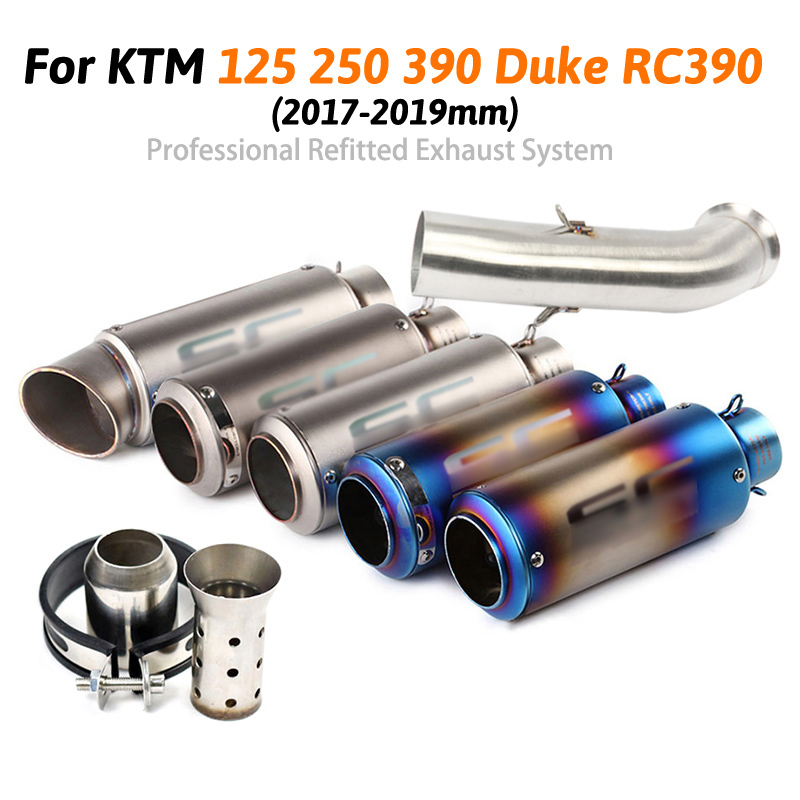 Motorcycle Full Exhaust System Slip on For Duke 125 250 390 RC390 2017 2018 2019 year Exhaust Muffler Pipe image