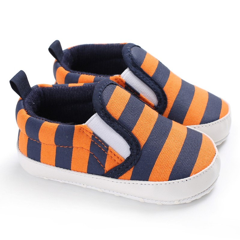 Baby Boys Shoes Toddler Infant First Walkers Canvas Striped Soft Soled Baby Shoes 0-18 Month