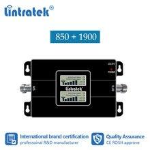 Lintratek 2G 3G 850 1900 GSM 850 Chiếc 1900MHz Tế Bào Tăng Cường Tín Hiệu Repeater Ban Nhạc 2 UMTS 1900 CDMA 850 Bộ Khuếch Đại Repetidor Số 8