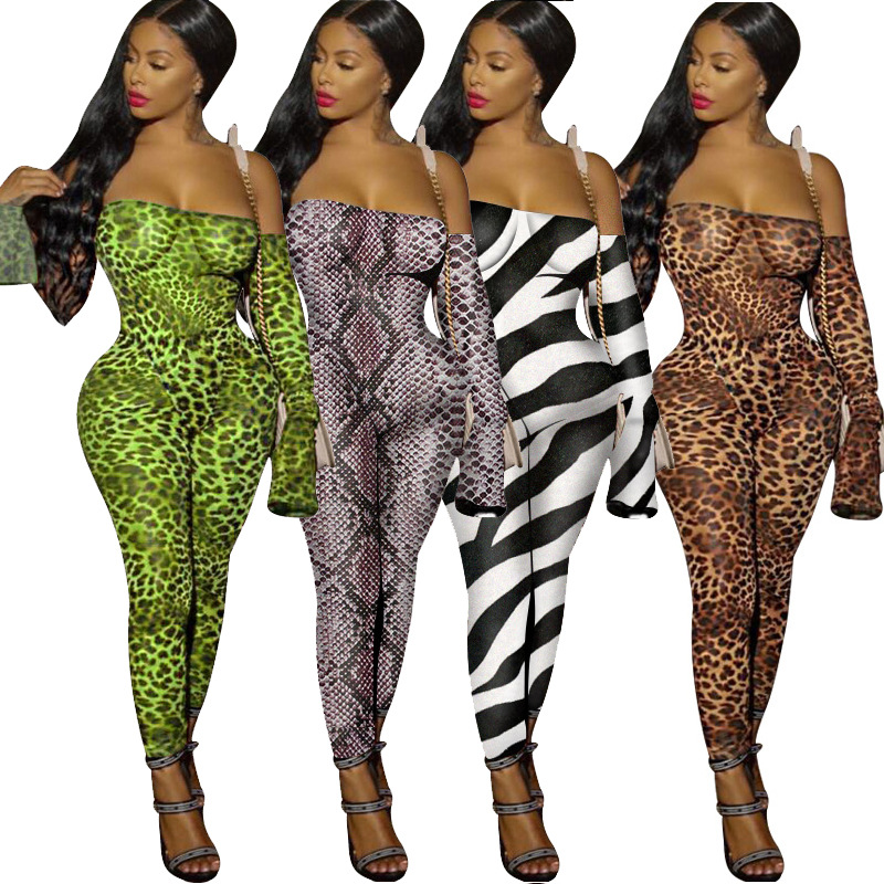 Pants Women Cobra Leopard Print Casual Printed Leopard Sexy Nightclub Elegant Luxury Luxury Tights Party Club Party Jumpsuit