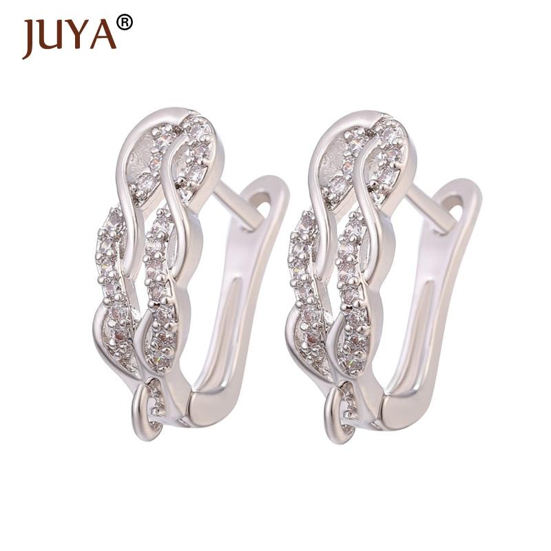 Juya Fashionable Earrings Hooks Handmade Accessories For Jewelry Making Copper CZ Rhinestone DIY Woman Jewellery Making Supplies