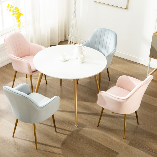 Nordic Ins Modern Casual Coffee Chair Wrought Iron Golden Chair Dining Chair Nail Salon Chair Makeup Net Red Chair 2