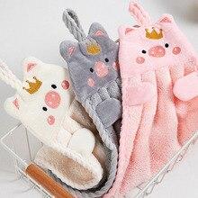 Мягкое полотенце для рук в Корейском стиле, мультяшный носовой платок с вышивкой в виде свиньи для дома, настенные кухонные принадлежности, ...