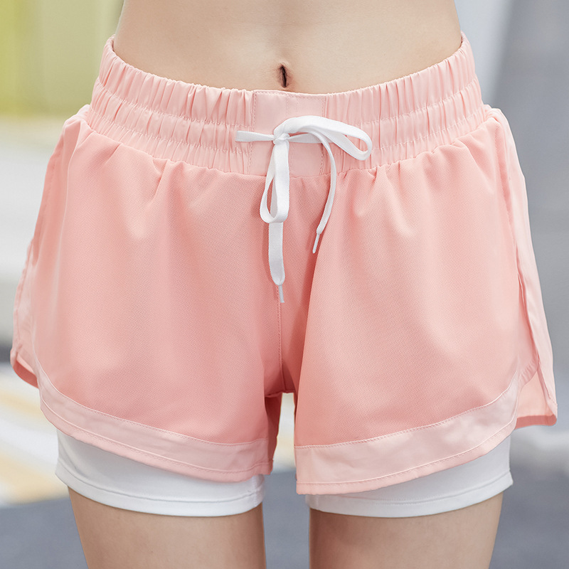 Women Fashion Elastic Sport Fitness  2 In 1 Yoga Shorts For Ladies Athletic Running Training Fitness Gym Shorts Hot Sale