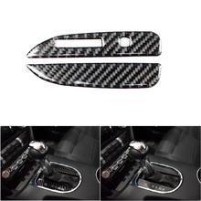 For Ford Mustang 2015 2016 2017 2pcs Carbon Fiber Car Interior Side Gear Shift Panel Strip Decor Cover