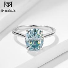 Kuolit bague Solitaire pour femmes, bague ovale en or massif, vert et bleu, bague ovale, diamant de laboratoire, pour fiançailles, bijoux fins, pour femmes
