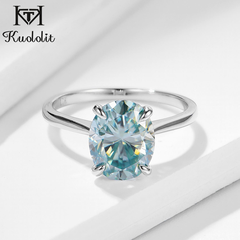 Kuolit-bague Solitaire pour femmes, bague ovale en or massif, vert et bleu, bague ovale, diamant de laboratoire, pour fiançailles, bijoux fins, pour femmes
