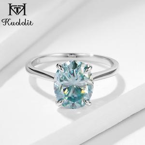 Image 2 - Kuololit Green blue Solitaire Ring for Women 10K Solid Gold Ring Oval Moissanite Lab Diamond for Wedding Engagement Fine Jewelry