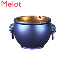 Pure Brass Ashtray Imperial Palace Lion First Tank Chinese Style Trendy Gray Household Living Room Creative Anti-Fly Ash