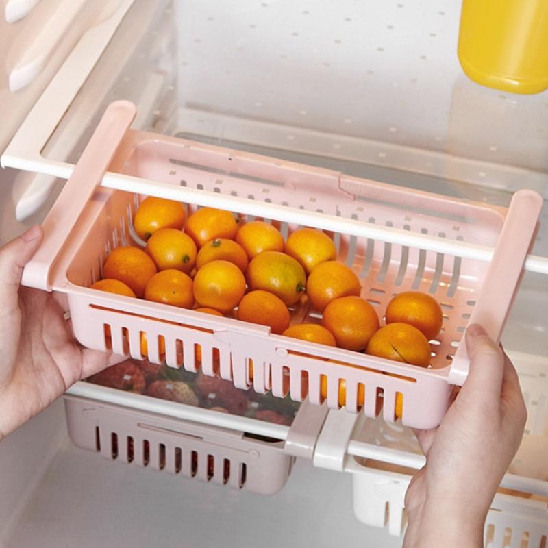 Basket Fridge Organizer Refrigerator Retractable Drawer Type Refrigerator Container Box FoodFruit Organizer Storage Tray Kitchen