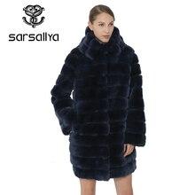 SARSALLYA płaszcz z prawdziwego futra kobiety kurtka ciepły zimowy królik Rex gruby kaptur moda kobiety płaszcze prawdziwe futro naturalne kobiece płaszcz