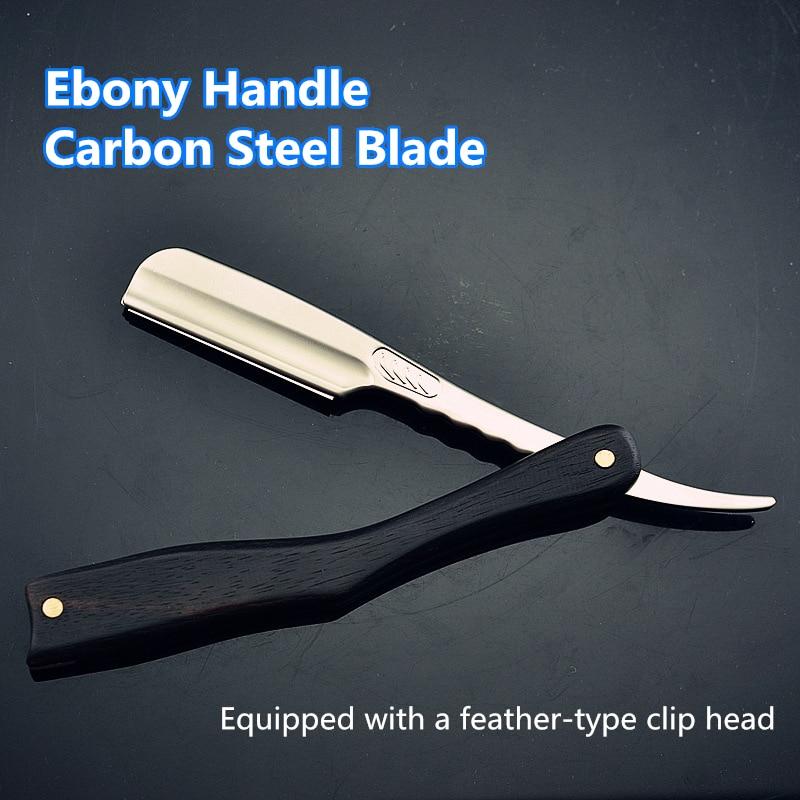 Men Shaving Straight Razor Natural Ebony Wood Handle Carbon Steel Blade Manual Barber Shaver For Feather Blade G0131