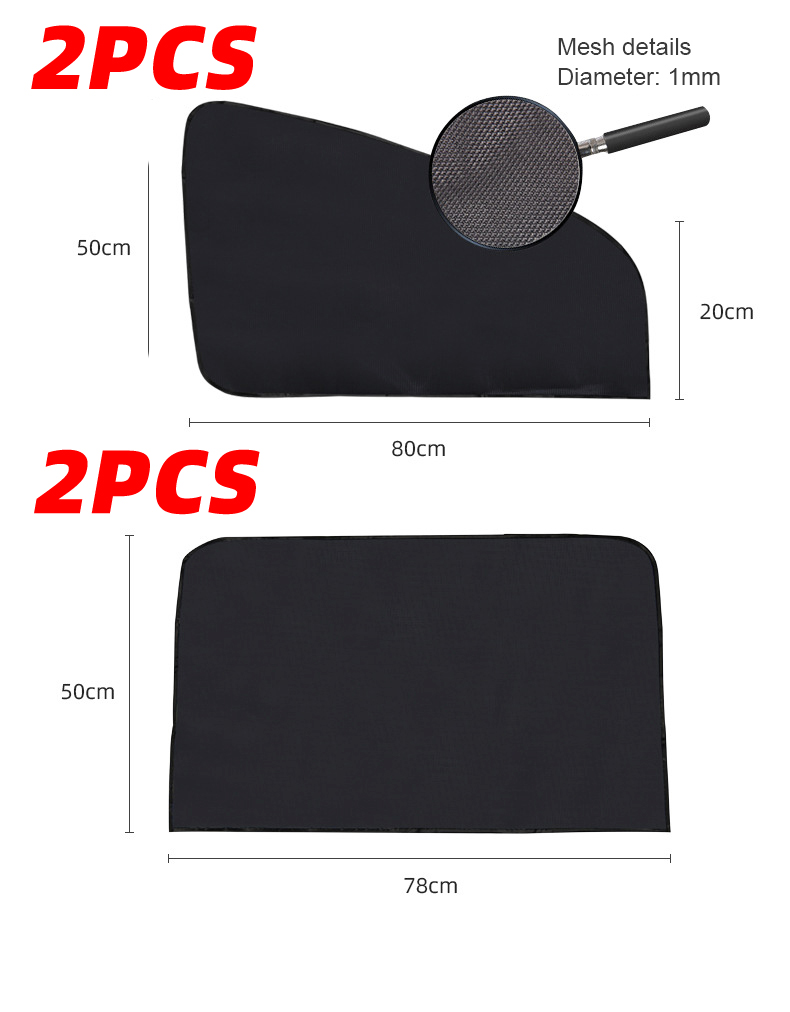 4PCS Magnetic Car Sun Shade UV Protection Curtain Car Window Sunshade Side Window Mesh Sun Visor Summer Protection Windows Film