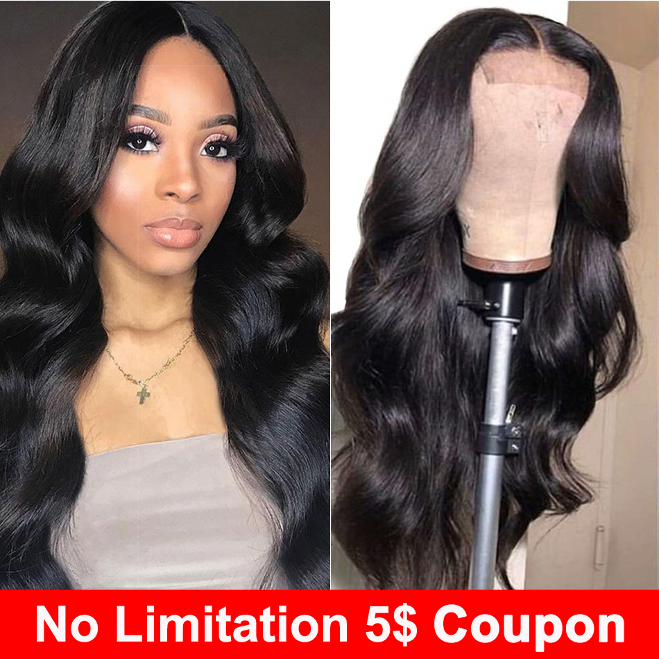 Liddy Human Hair Wigs 4x4 Lace Closure Wig For Black Women Body Wave Wigs Non-remy Natural Color 150% Density Wigs