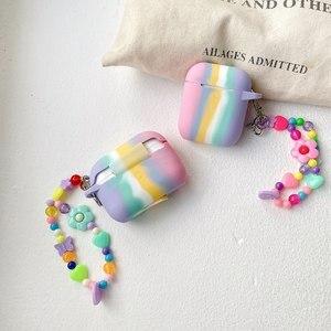 Image 1 - Colorido arco íris caso para airpods caso para airpods pro moda flor cordão chaveiro silicone fone de ouvido capa para airpods 2