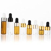 Botellas Vacías de vidrio con cuentagotas para aceites esenciales, botellas rellenables de Mini viales de suero ámbar con Piette, 1ml, 2ml, 3ml, 5ml, lote de 50 unidades