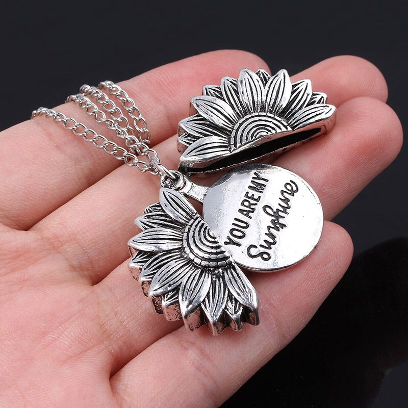 You Are My Sunshine Flower Necklace For Women Open  Locket Sunflower Pendant Necklace