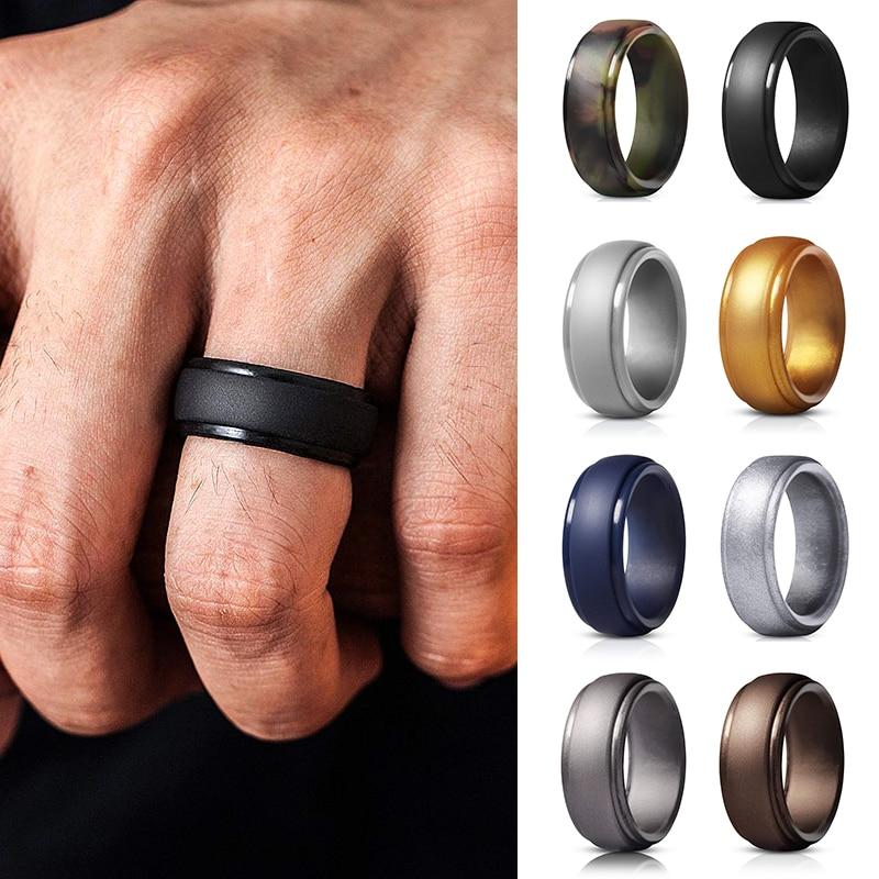 Мужские и женские новые мужские силиконовые кольца 7-12 размеров гипоаллергенные гибкие мужские свадебные резинки 8 мм силиконовые кольца дл...