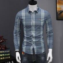 Casual Men Shirts Men's Clothing Fashion Plaid Shi