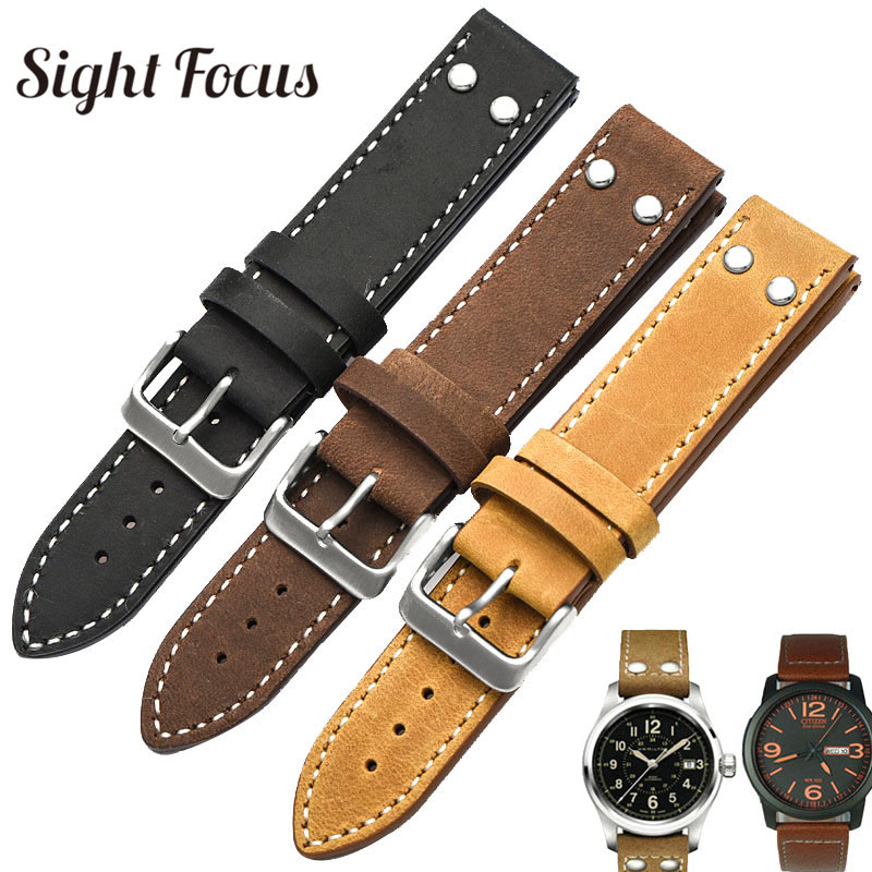 20MM,22MM Leather Watchband For Stowa Pilot Strap Flieger Classic Series Chrono/Sport/Verus Series Rivet TW Steel Watch Band