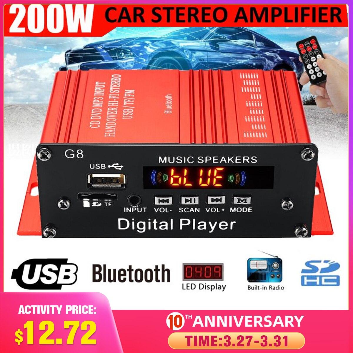 100W+100W 12V 2CH Car Audio Amplificador HIFI Audio Power Amplifier Bluetooth Stereo Amplifiers FM Radio USB W/ Remote Control