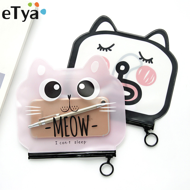 Cute Cat Transparent PVC Zipper Stationery Holder Pen Holders Students School Office Supplies Desk Storage Bag Coin Purse Gift