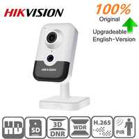 Hikvision Original IP Dome Camera DS-2CD2443G0-IW 4MP IR Fixed Cube WIFI PoE Built-in Speaker built-in mic support onvif